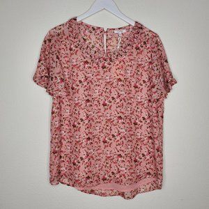 Nordstrom Pleione Blush Pink Floral Blouse